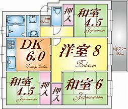 高倉台8団地31号棟[3階]の間取り