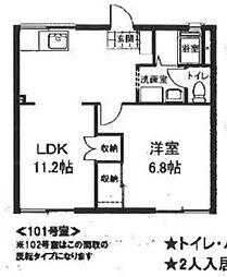 神奈川県横浜市旭区笹野台2丁目の賃貸アパートの間取り