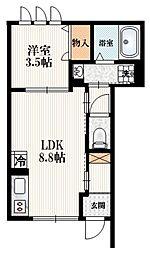 JR山手線 駒込駅 徒歩6分の賃貸マンション 1階1LDKの間取り
