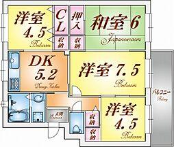 高倉台団地25号棟[3階]の間取り