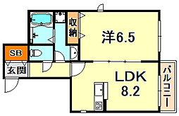 (仮称)灘区船寺通1丁目ヘーベルメゾン 3階1LDKの間取り