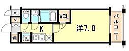 エスプレイス神戸ハーバーランド 2階1Kの間取り
