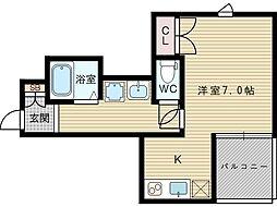 アルモニー下新庄 1階ワンルームの間取り