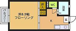 フローレス松山[101号室]の間取り
