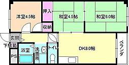 ハイクレスト宮之阪[2階]の間取り