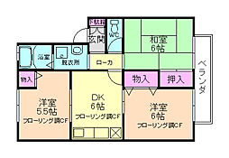 大阪府箕面市坊島2丁目の賃貸アパートの間取り