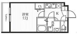 都営大江戸線 牛込柳町駅 徒歩9分の賃貸マンション 2階1Kの間取り