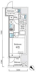 リビオメゾン大崎 7階1Kの間取り