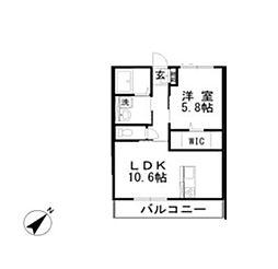Lien 2階1LDKの間取り