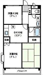 パラマウント野川[4階]の間取り