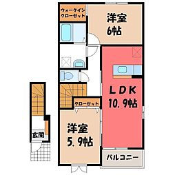 栃木県真岡市熊倉町の賃貸アパートの間取り
