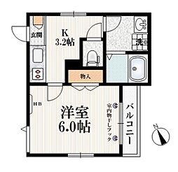 (仮称)栄町9メゾン 2階1Kの間取り