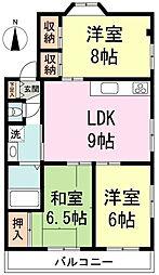 吉田ビル 3階3LDKの間取り