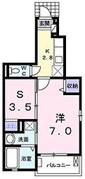 JR高崎線 北本駅 徒歩29分の賃貸アパート 1階1SKの間取り