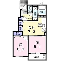 愛知県岡崎市西蔵前町字峠の賃貸アパートの間取り