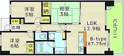 レジディア都島2 12階3LDKの間取り