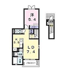 JR高崎線 吹上駅 徒歩18分の賃貸アパート 2階1LDKの間取り