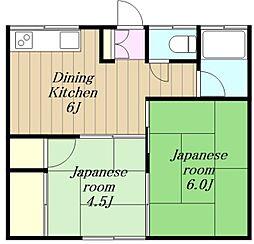 神奈川県藤沢市高倉の賃貸アパートの間取り