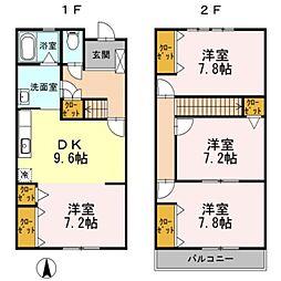 兵庫県三木市緑が丘町西3丁目の賃貸アパートの間取り