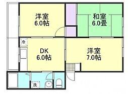 高越マンション[2階]の間取り