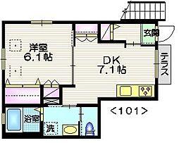 京王井の頭線 池ノ上駅 徒歩5分の賃貸マンション 1階1DKの間取り