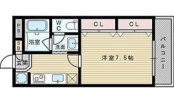 サンフラッツ新大阪(別館)[4階]の間取り