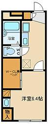 西武多摩湖線 武蔵大和駅 徒歩6分の賃貸アパート 2階1Kの間取り