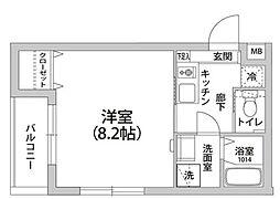 モン・シャトー上高田 2階1Kの間取り