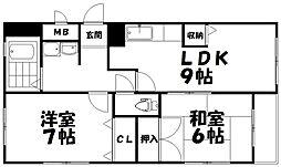 アルカディア 2階2LDKの間取り
