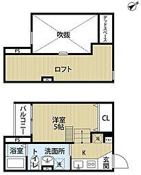 南海高野線 堺東駅 徒歩17分の賃貸アパート 1階1Kの間取り
