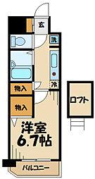 多摩都市モノレール 万願寺駅 徒歩2分の賃貸マンション 4階1Kの間取り