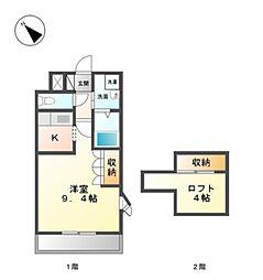 愛知県岡崎市富永町字社本の賃貸アパートの間取り