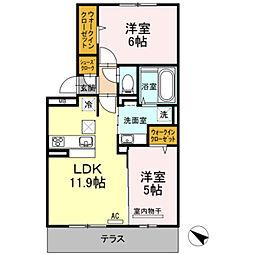D-roomパークサイド吉塚[203号室]の間取り