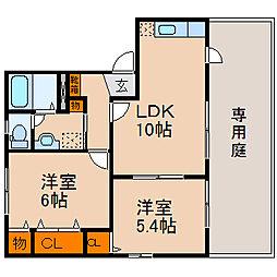 滋賀県長浜市四ツ塚町の賃貸アパートの間取り