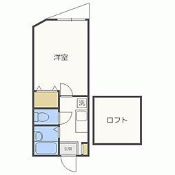シンセイコーポ田隈[202号室]の間取り