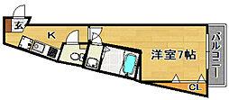 阪急京都本線 上新庄駅 徒歩4分の賃貸マンション 2階1Kの間取り