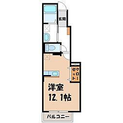 栃木県宇都宮市鶴田2の賃貸アパートの間取り