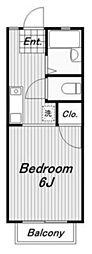 クローバーハイツB[1階]の間取り