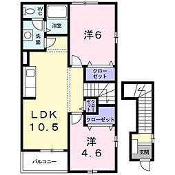 神奈川県座間市栗原中央1丁目の賃貸アパートの間取り