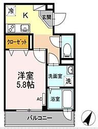 Tango Heights赤坂 タンゴハイツ赤坂 2階1Kの間取り