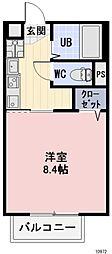 JR東海道本線 相見駅 徒歩17分の賃貸アパート 1階1Kの間取り