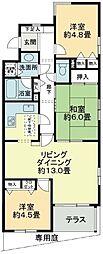 東京都東村山市萩山町2丁目の賃貸マンションの間取り