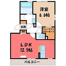 栃木県宇都宮市平出町の賃貸アパートの間取り