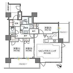 相鉄本線 海老名駅 徒歩3分の賃貸マンション 3階3LDKの間取り
