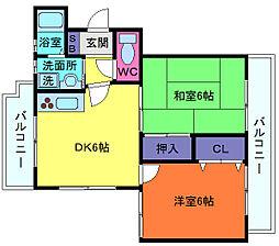 兵庫県神戸市灘区千旦通4丁目の賃貸マンションの間取り
