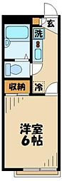 京王相模原線 稲城駅 徒歩13分の賃貸アパート 2階1Kの間取り