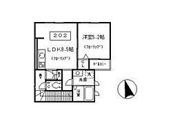 東京都杉並区本天沼2丁目の賃貸アパートの間取り
