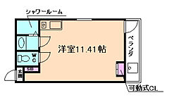 JR大阪環状線 弁天町駅 徒歩10分の賃貸マンション 2階ワンルームの間取り