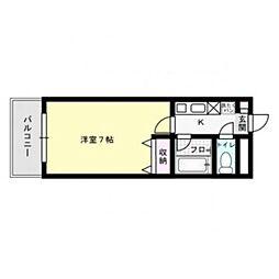 福岡県福岡市中央区大手門1丁目の賃貸マンションの間取り
