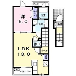 愛知県豊橋市大脇町字大脇の賃貸アパートの間取り